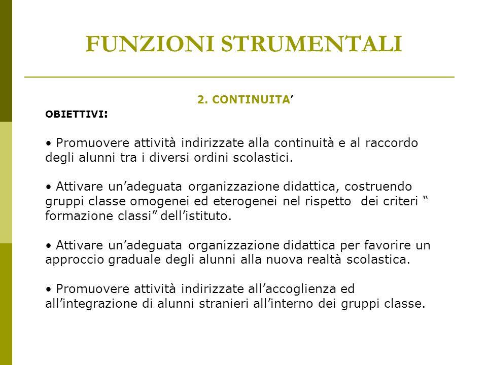 FUNZIONI STRUMENTALI 2. CONTINUITA' OBIETTIVI:
