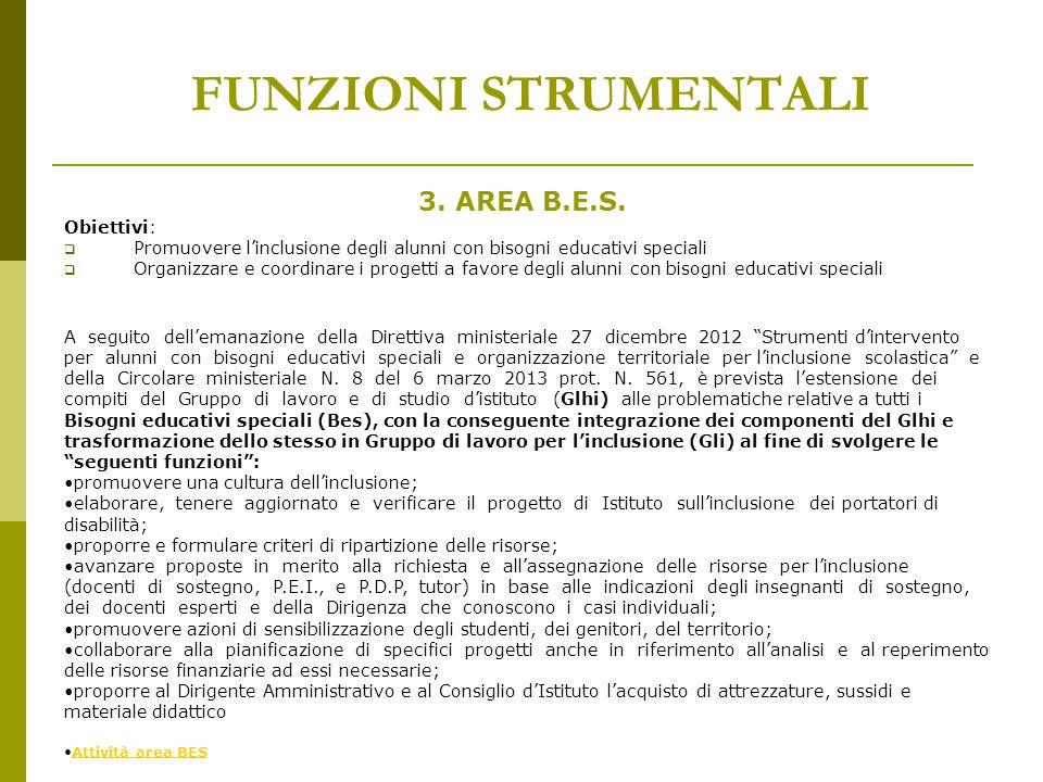 FUNZIONI STRUMENTALI 3. AREA B.E.S. Obiettivi: