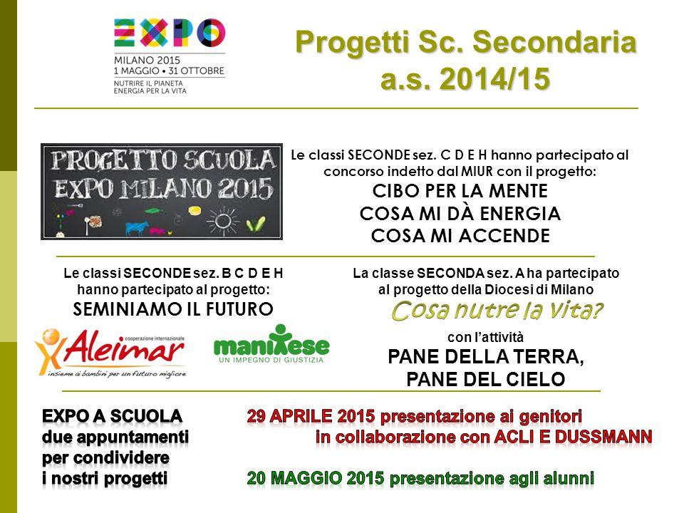 Progetti Sc. Secondaria a.s. 2014/15