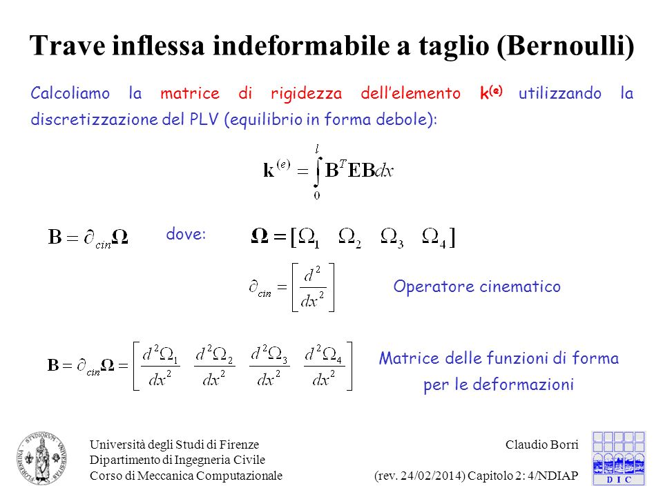 Trave inflessa indeformabile a taglio (Bernoulli)