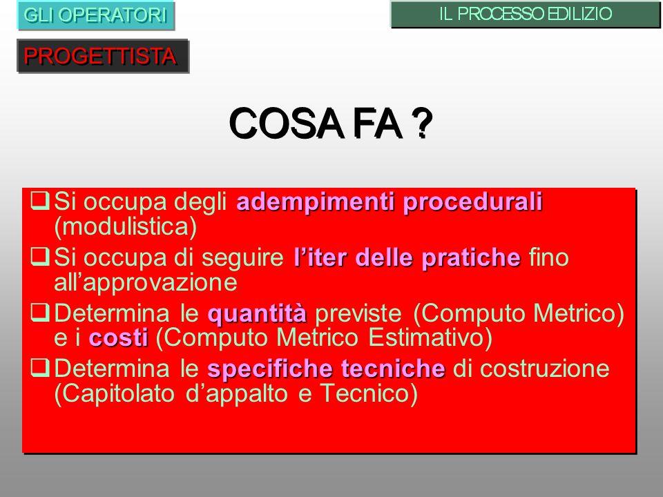 COSA FA Si occupa degli adempimenti procedurali (modulistica)
