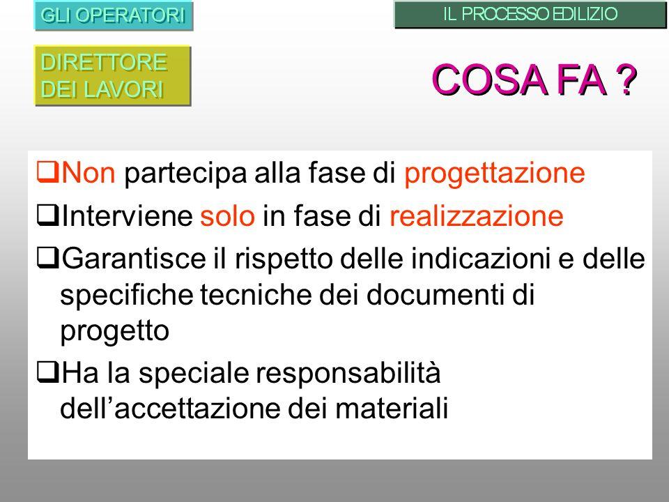COSA FA Non partecipa alla fase di progettazione