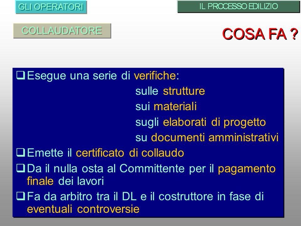 COSA FA Esegue una serie di verifiche: sulle strutture sui materiali