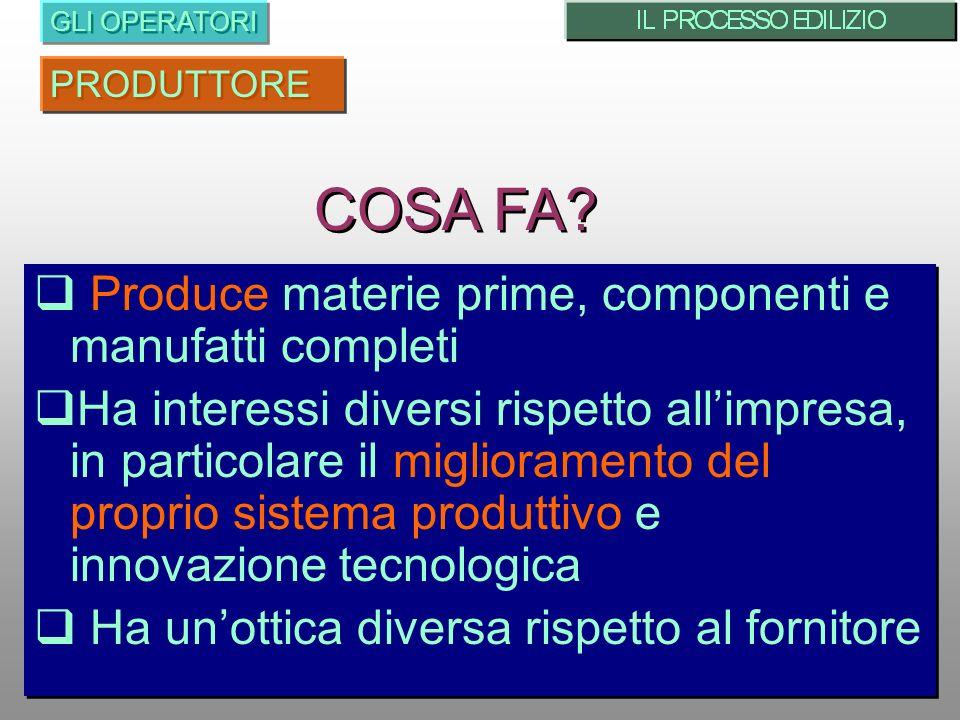 COSA FA Produce materie prime, componenti e manufatti completi