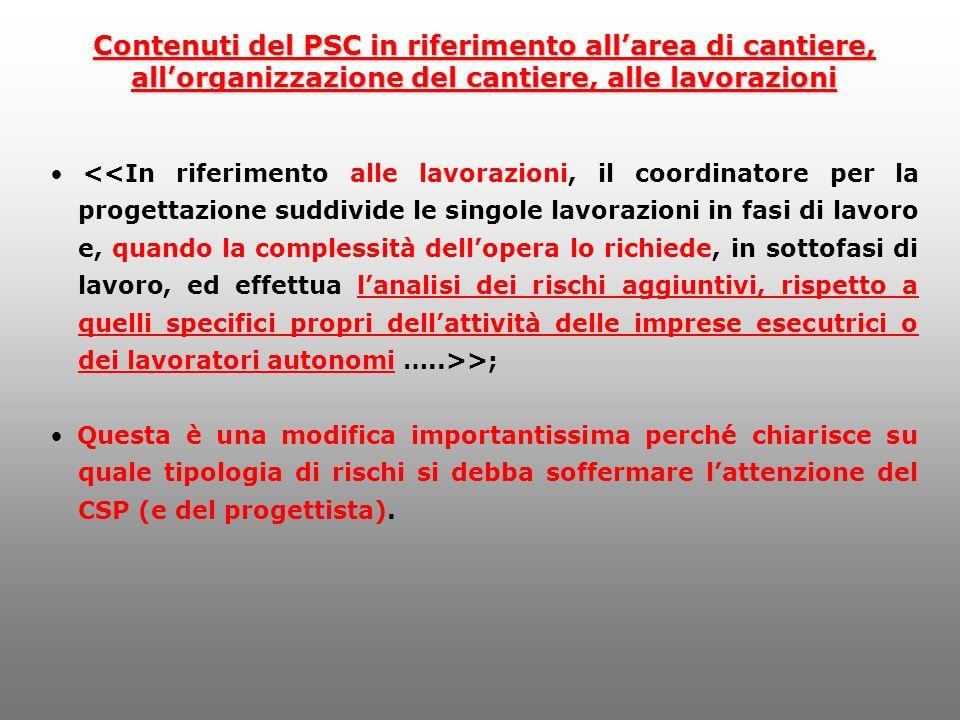 Contenuti del PSC in riferimento all'area di cantiere,