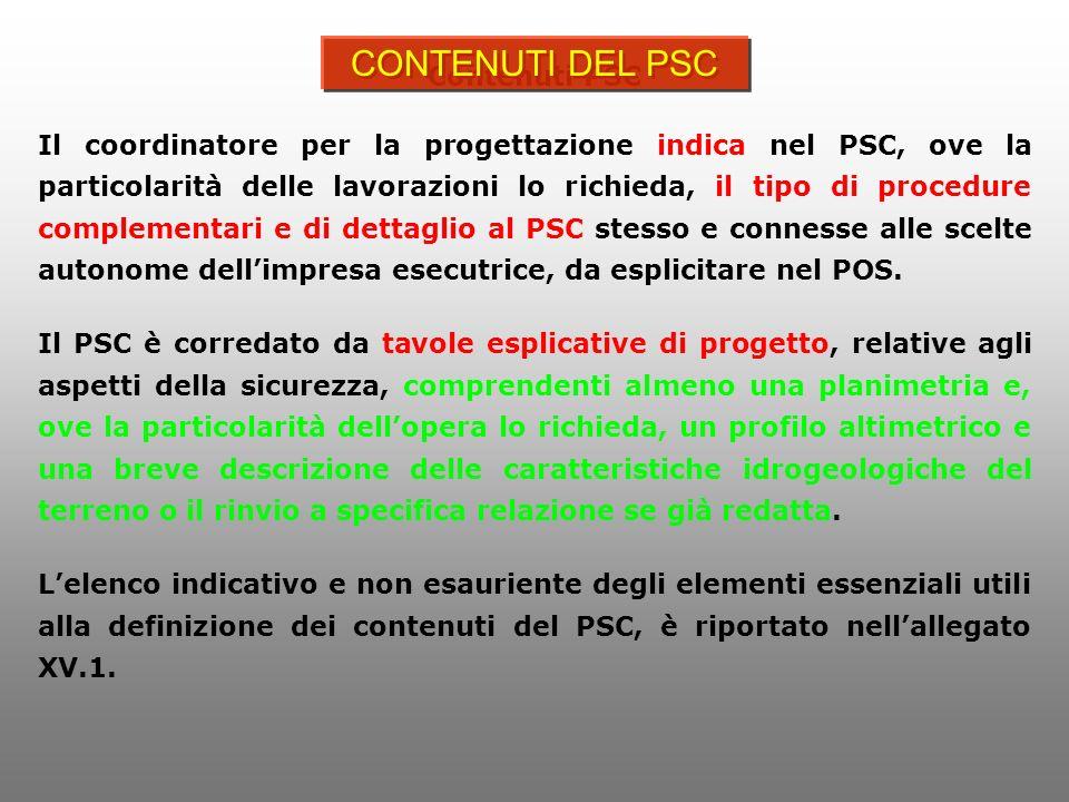 CONTENUTI DEL PSC Contenuti PSC