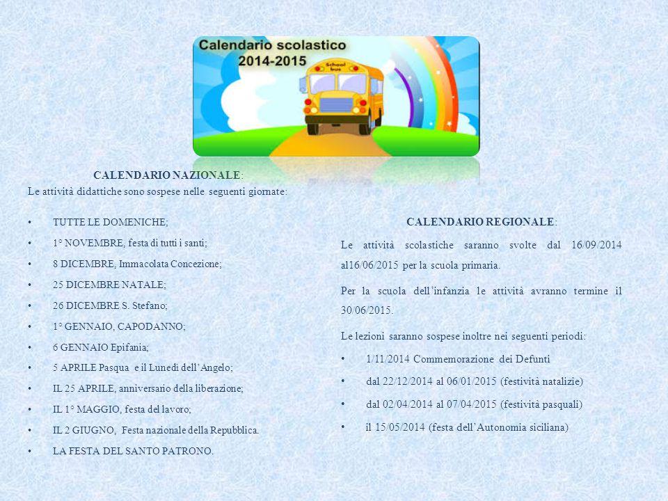 CALENDARIO NAZIONALE: