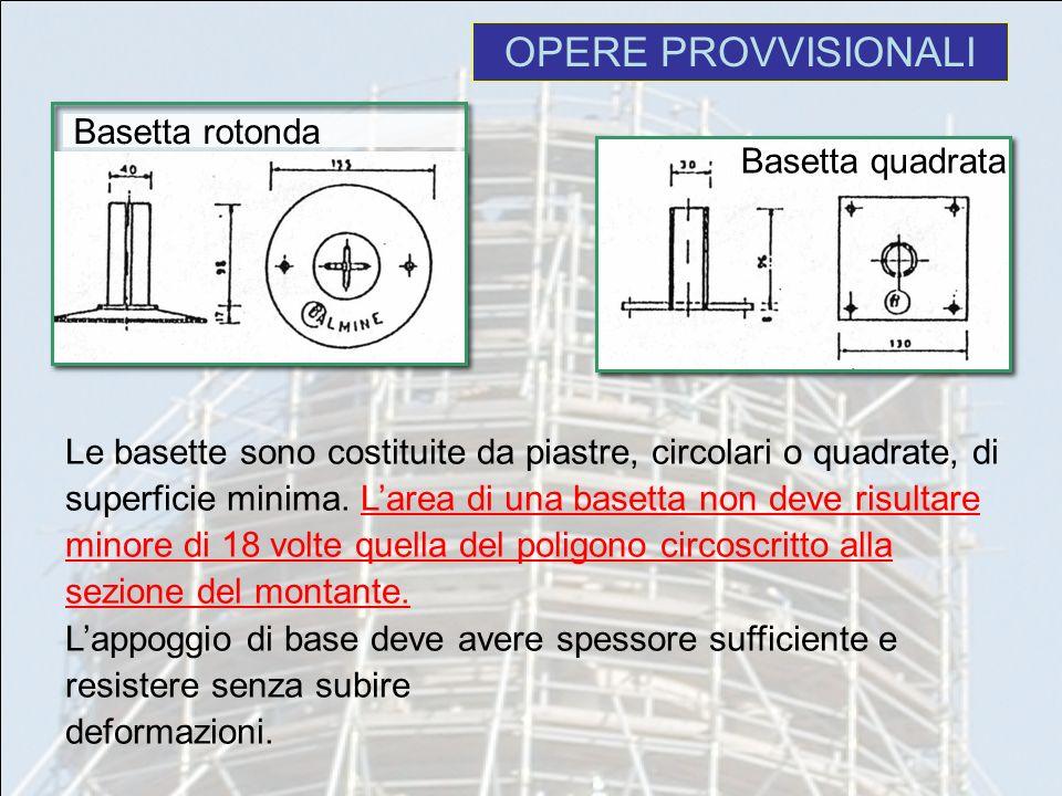 OPERE PROVVISIONALI Basetta rotonda Basetta quadrata