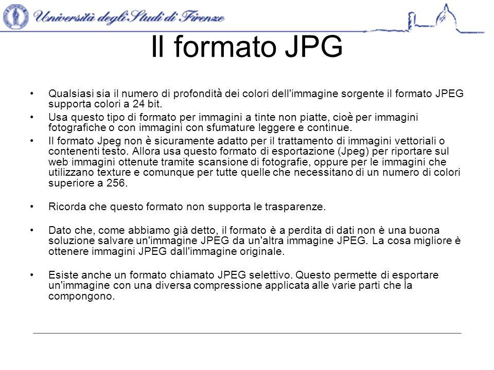 Il formato JPG Qualsiasi sia il numero di profondità dei colori dell immagine sorgente il formato JPEG supporta colori a 24 bit.