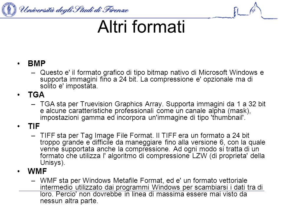 Altri formati BMP TGA TIF WMF