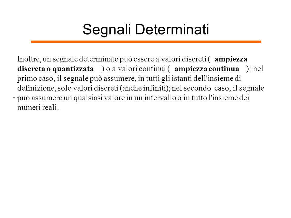 Segnali Determinati Inoltre, un segnale determinato può essere a valori discreti ( ampiezza. discreta o quantizzata.