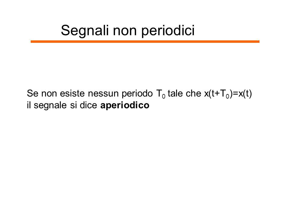 Segnali non periodici Se non esiste nessun periodo T0 tale che x(t+T0)=x(t) il segnale si dice aperiodico.