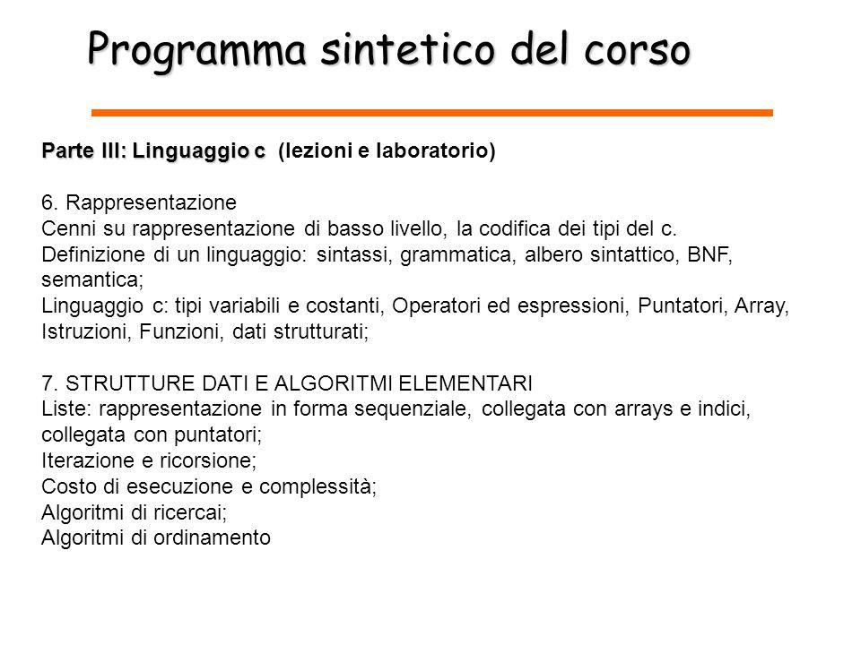 Programma sintetico del corso