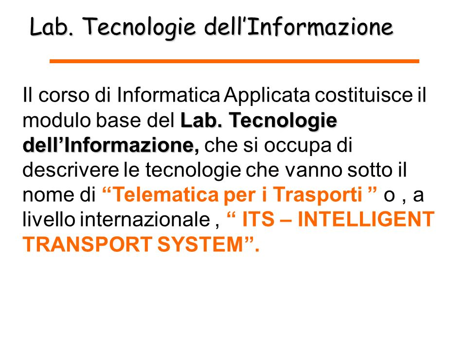 Lab. Tecnologie dell'Informazione