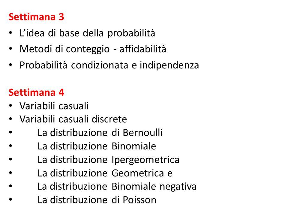 Settimana 3 L'idea di base della probabilità. Metodi di conteggio - affidabilità. Probabilità condizionata e indipendenza.