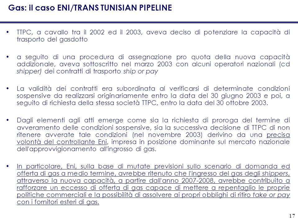 Gas: il caso ENI/TRANS TUNISIAN PIPELINE