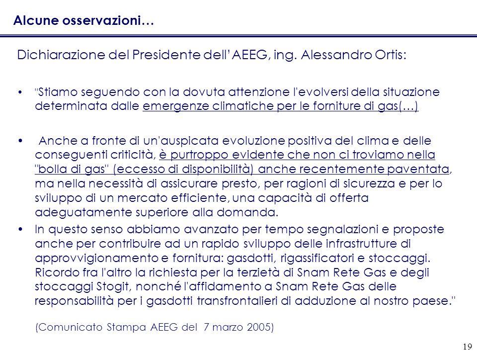 Dichiarazione del Presidente dell'AEEG, ing. Alessandro Ortis:
