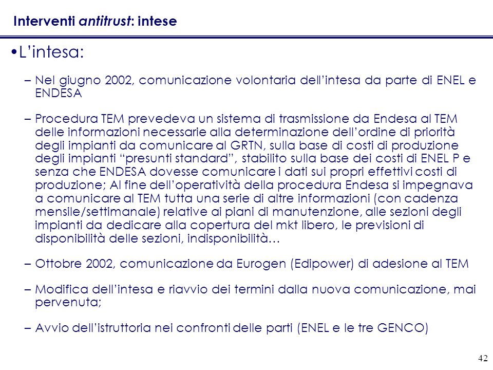Interventi antitrust: intese