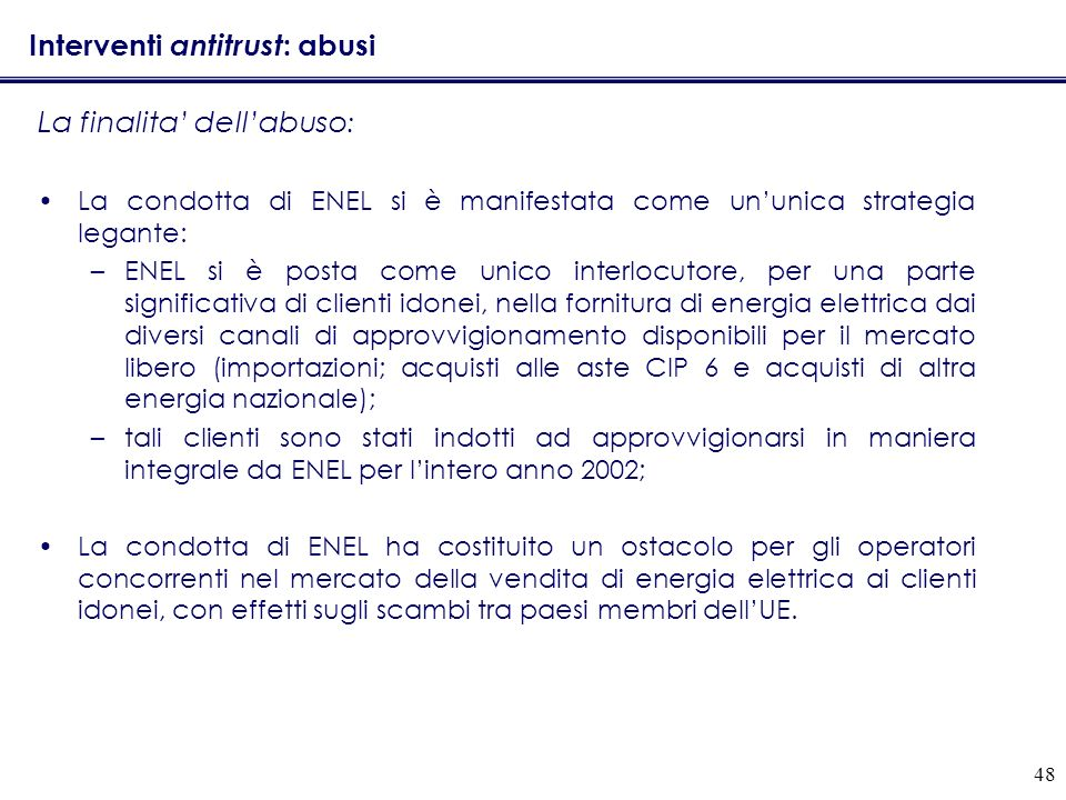 Interventi antitrust: abusi