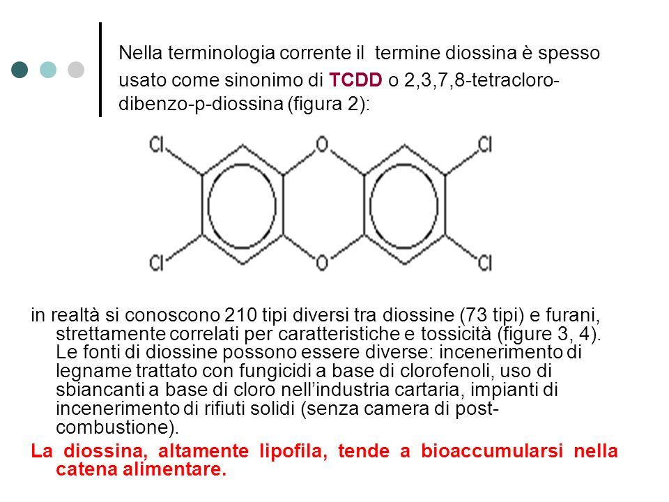 Nella terminologia corrente il termine diossina è spesso usato come sinonimo di TCDD o 2,3,7,8-tetracloro-dibenzo-p-diossina (figura 2):