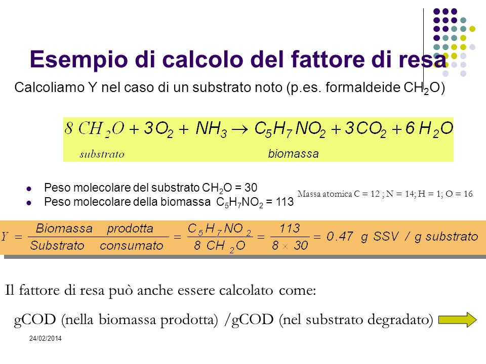 Esempio di calcolo del fattore di resa