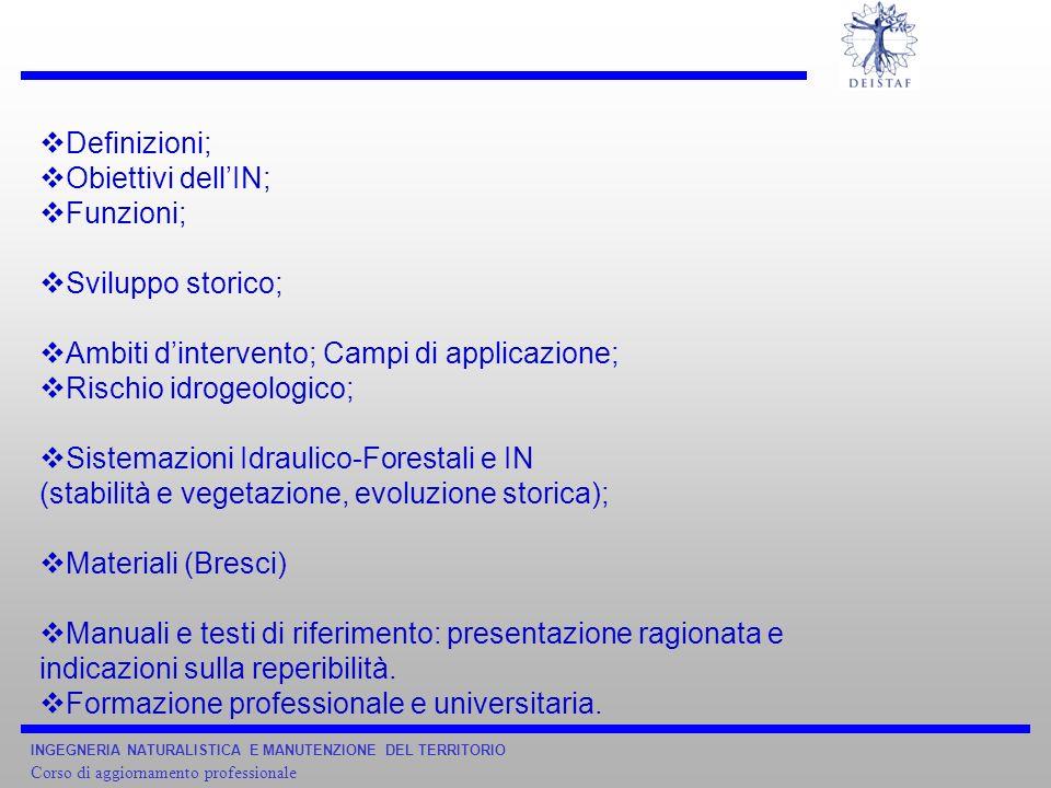 Ambiti d'intervento; Campi di applicazione; Rischio idrogeologico;