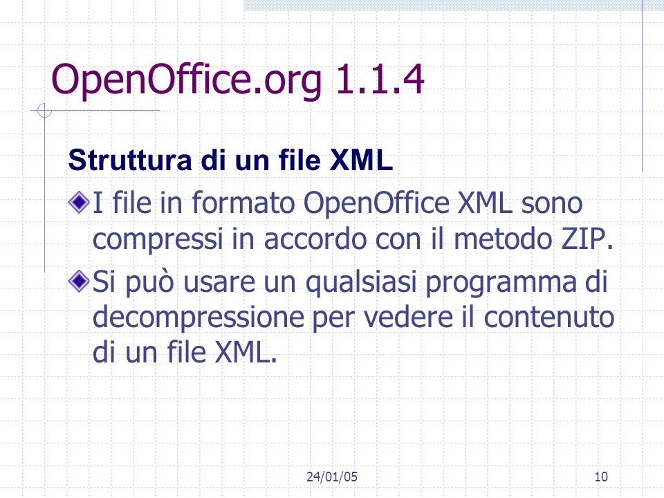 OpenOffice.org 1.1.4 Struttura di un file XML