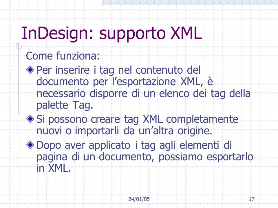 InDesign: supporto XML