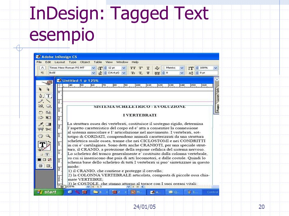 InDesign: Tagged Text esempio