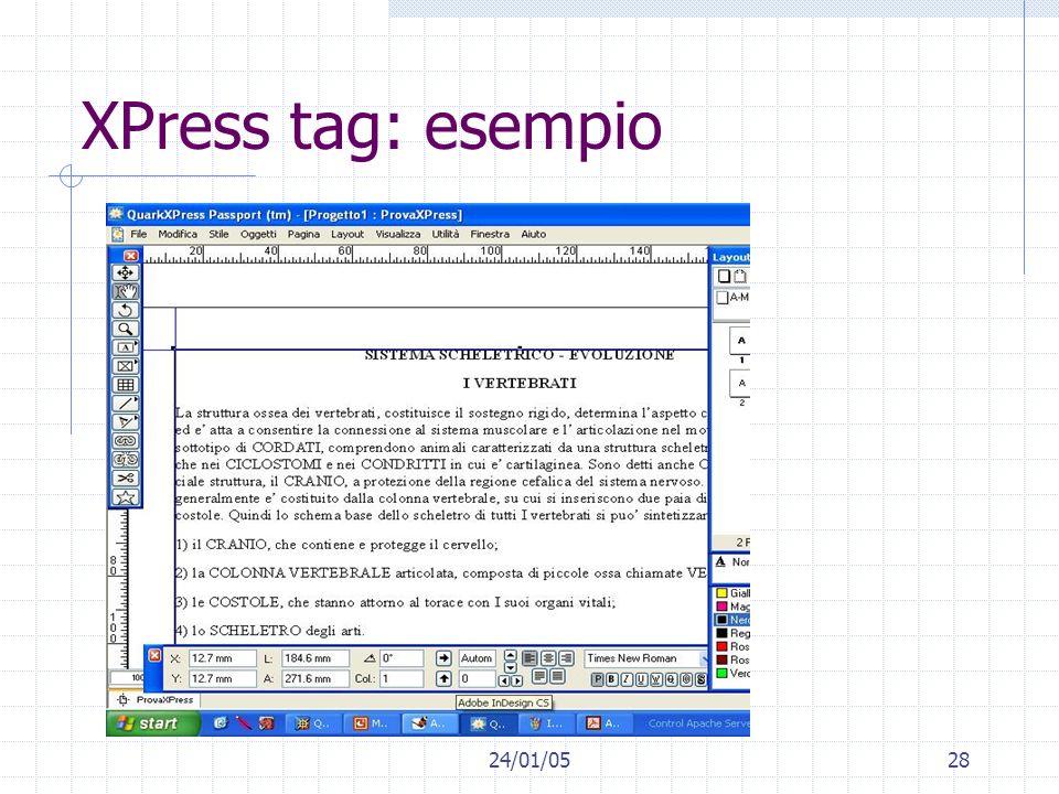 XPress tag: esempio 24/01/05