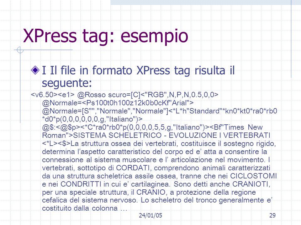 XPress tag: esempio I Il file in formato XPress tag risulta il seguente: