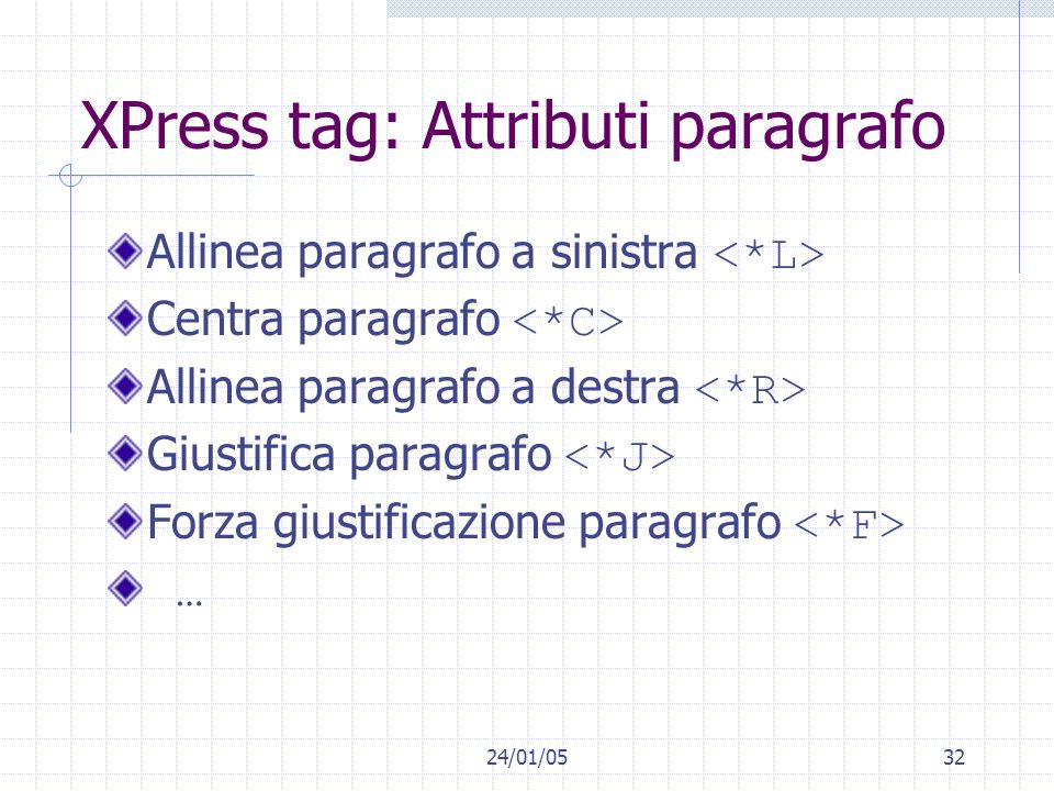 XPress tag: Attributi paragrafo