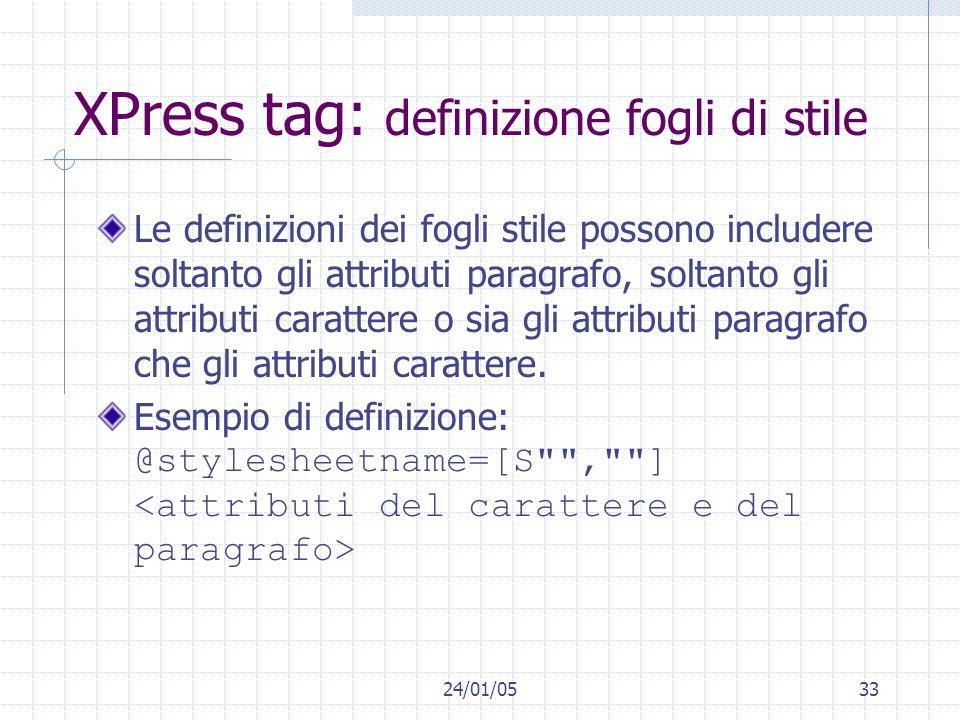 XPress tag: definizione fogli di stile