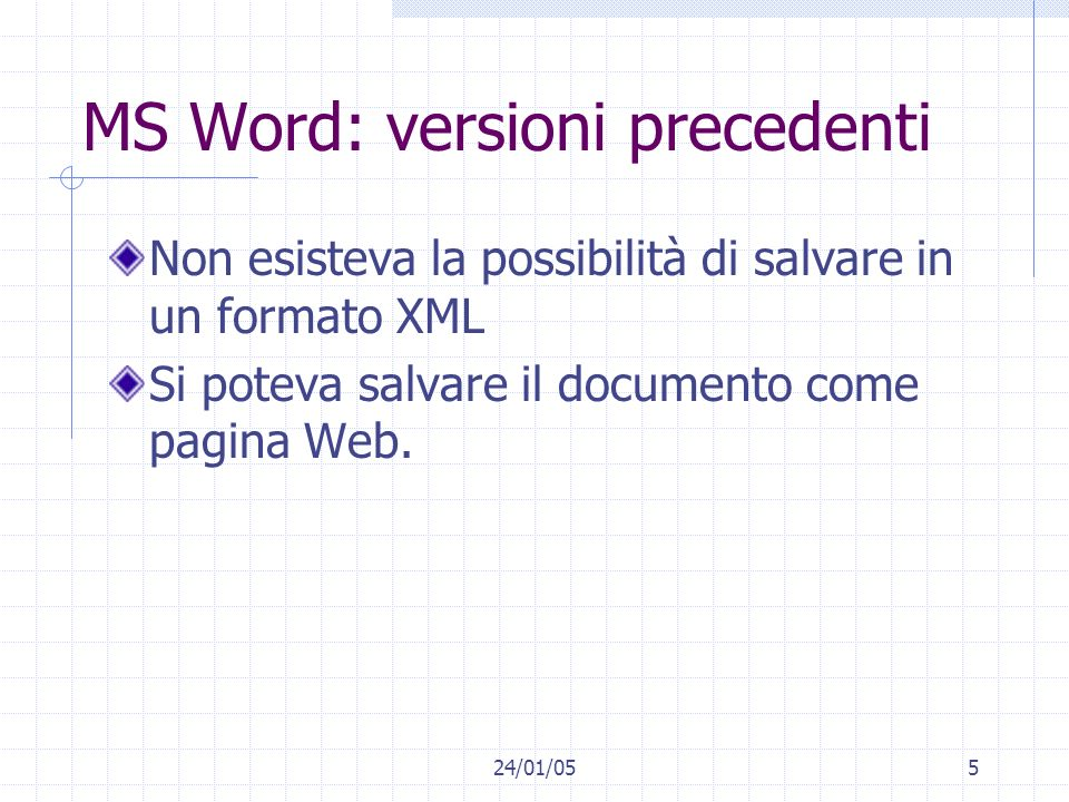 MS Word: versioni precedenti