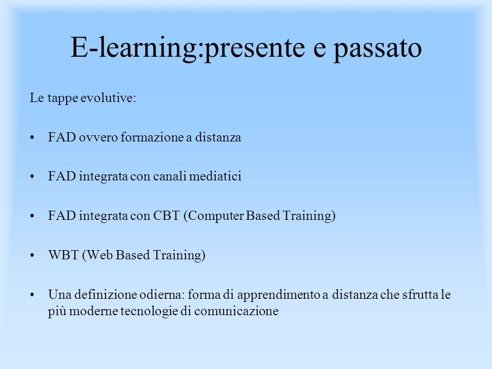 E-learning:presente e passato