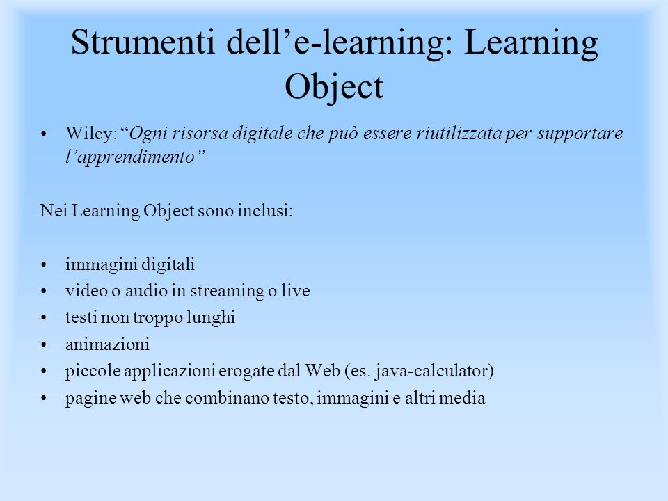 Strumenti dell'e-learning: Learning Object