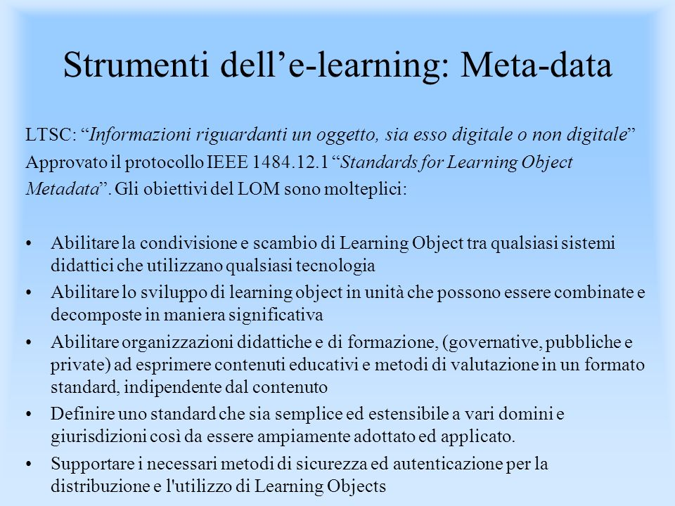 Strumenti dell'e-learning: Meta-data