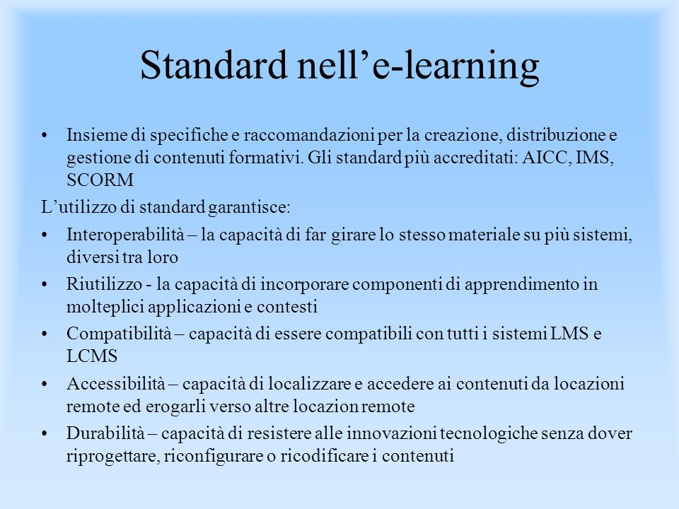 Standard nell'e-learning