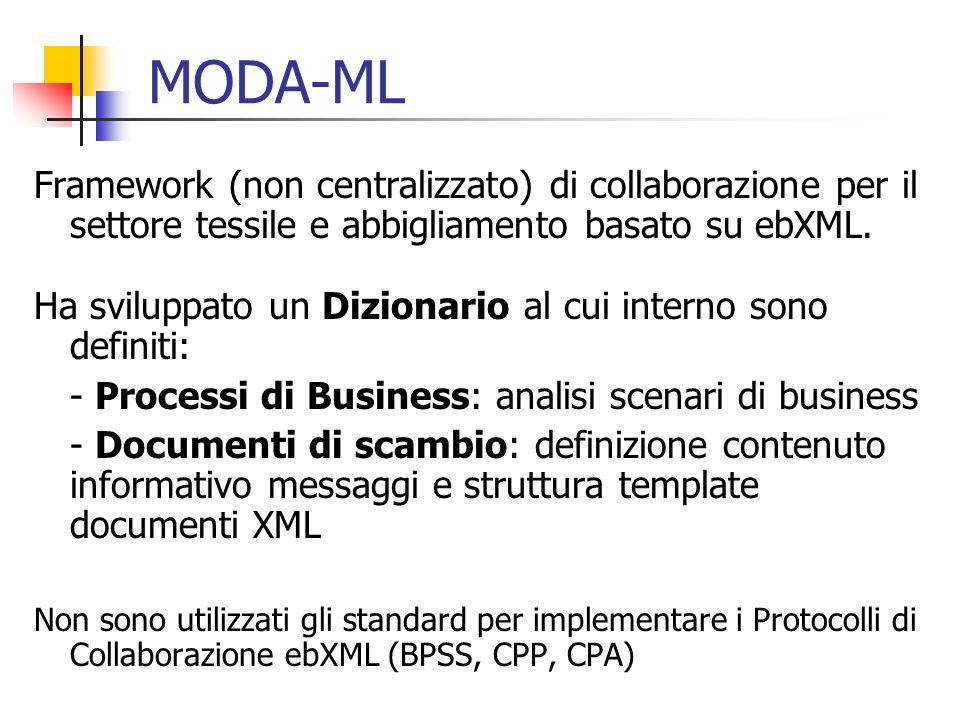 MODA-ML Framework (non centralizzato) di collaborazione per il settore tessile e abbigliamento basato su ebXML.