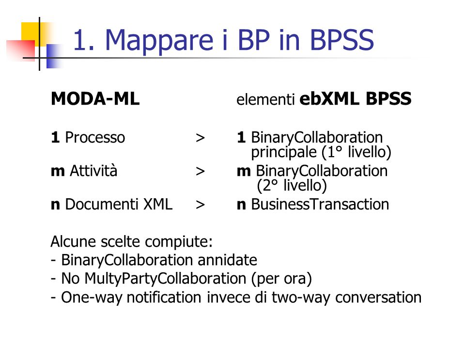 1. Mappare i BP in BPSS MODA-ML elementi ebXML BPSS