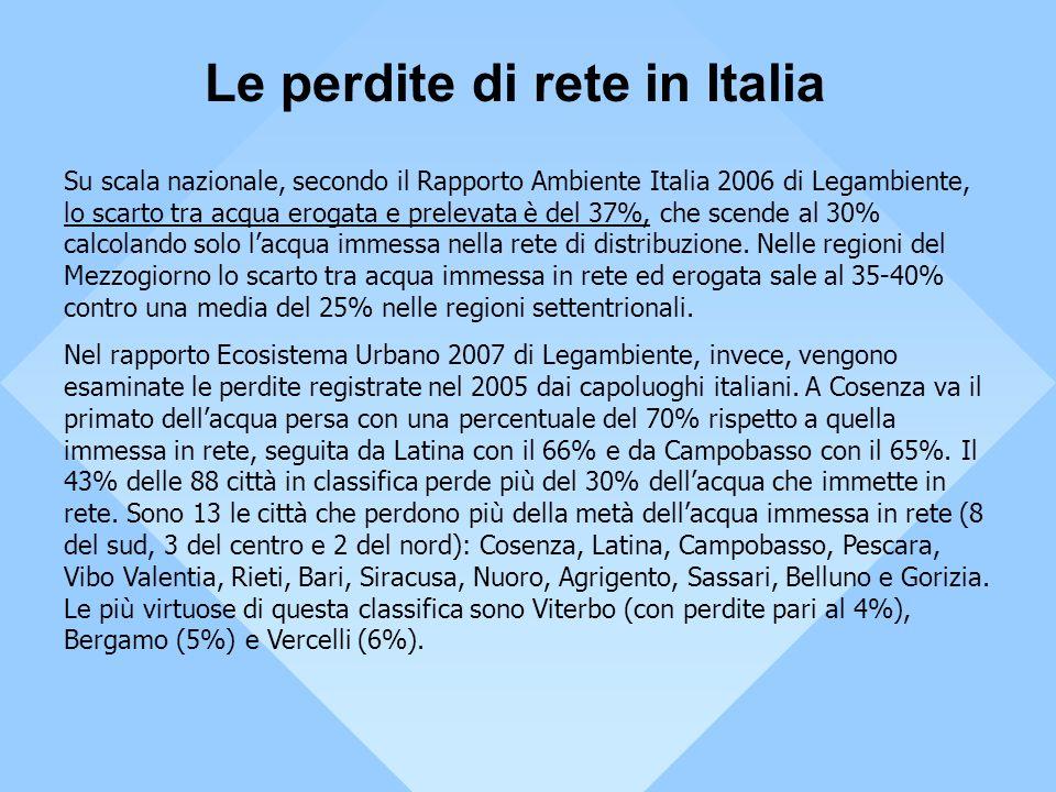 Le perdite di rete in Italia