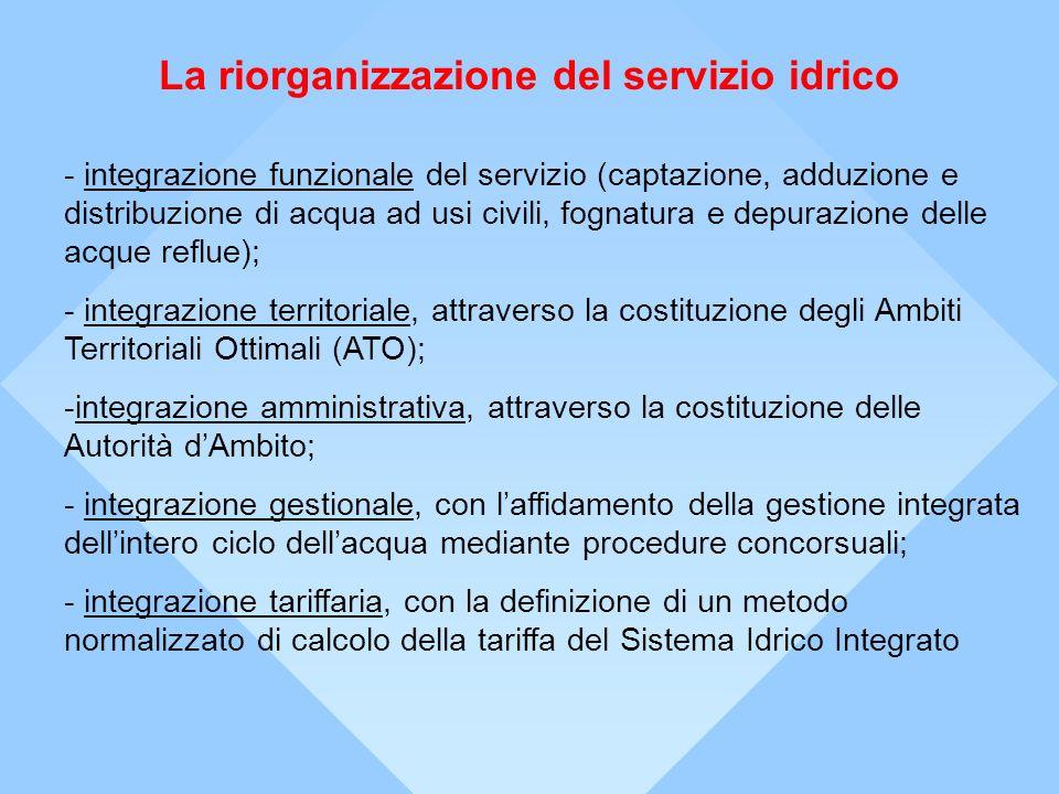 La riorganizzazione del servizio idrico