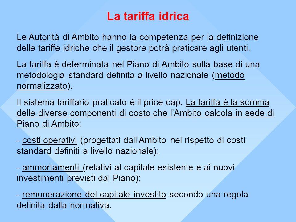 La tariffa idricaLe Autorità di Ambito hanno la competenza per la definizione delle tariffe idriche che il gestore potrà praticare agli utenti.