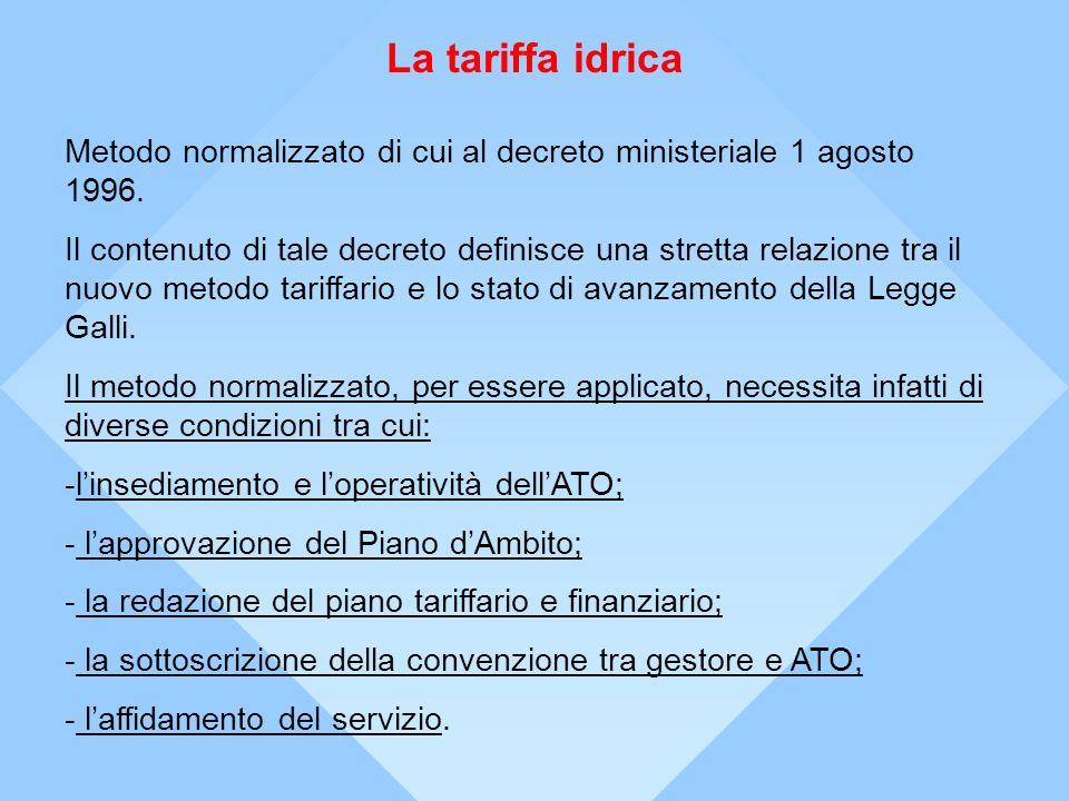 La tariffa idrica Metodo normalizzato di cui al decreto ministeriale 1 agosto 1996.