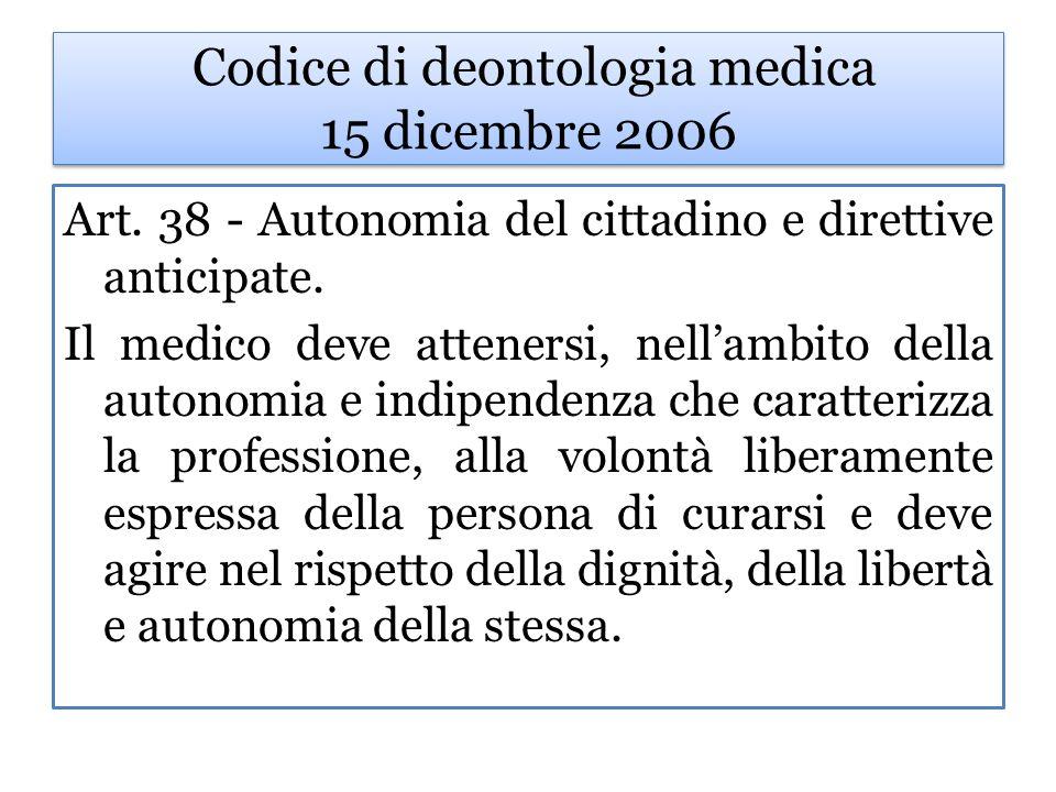 Codice di deontologia medica 15 dicembre 2006