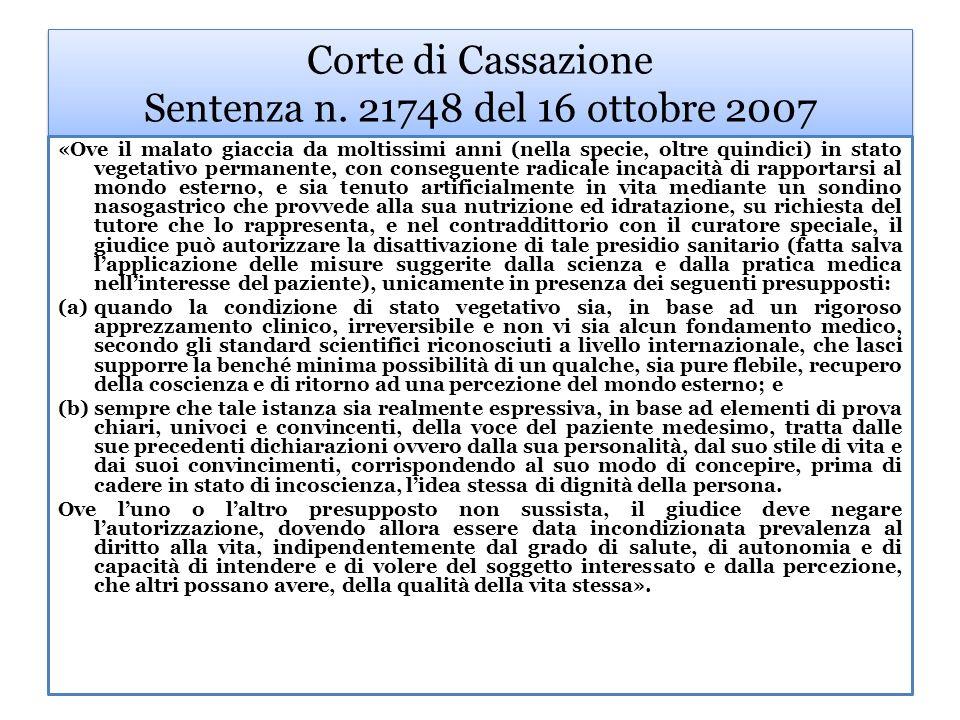 Corte di Cassazione Sentenza n. 21748 del 16 ottobre 2007