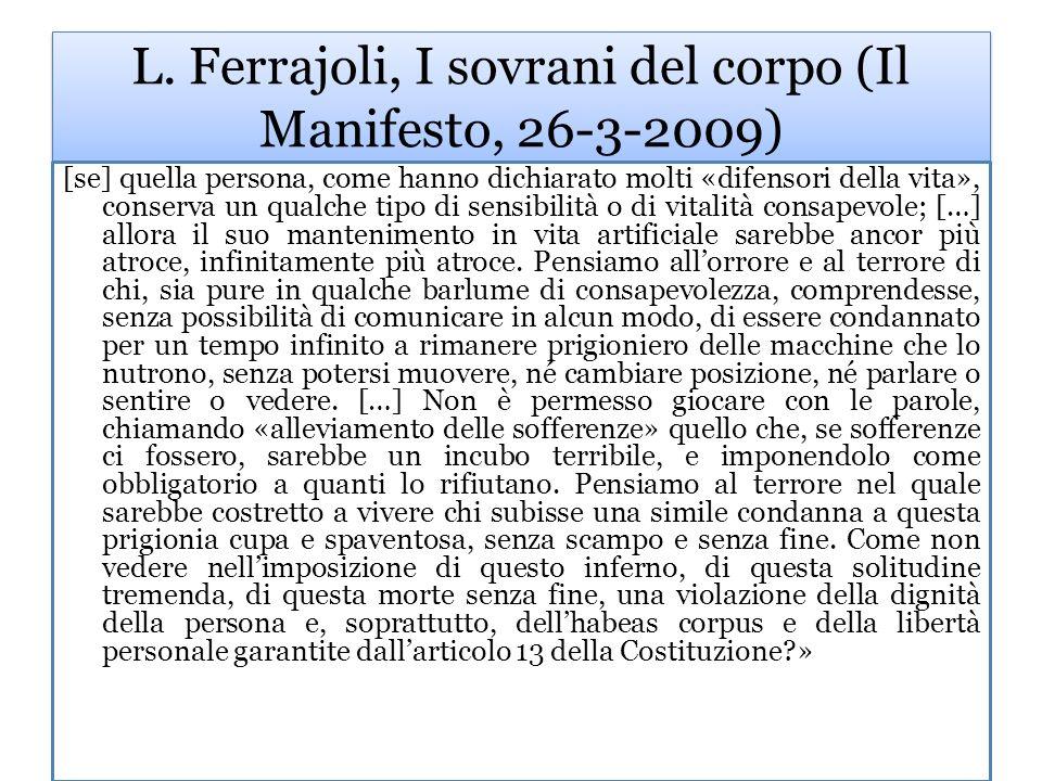 L. Ferrajoli, I sovrani del corpo (Il Manifesto, 26-3-2009)