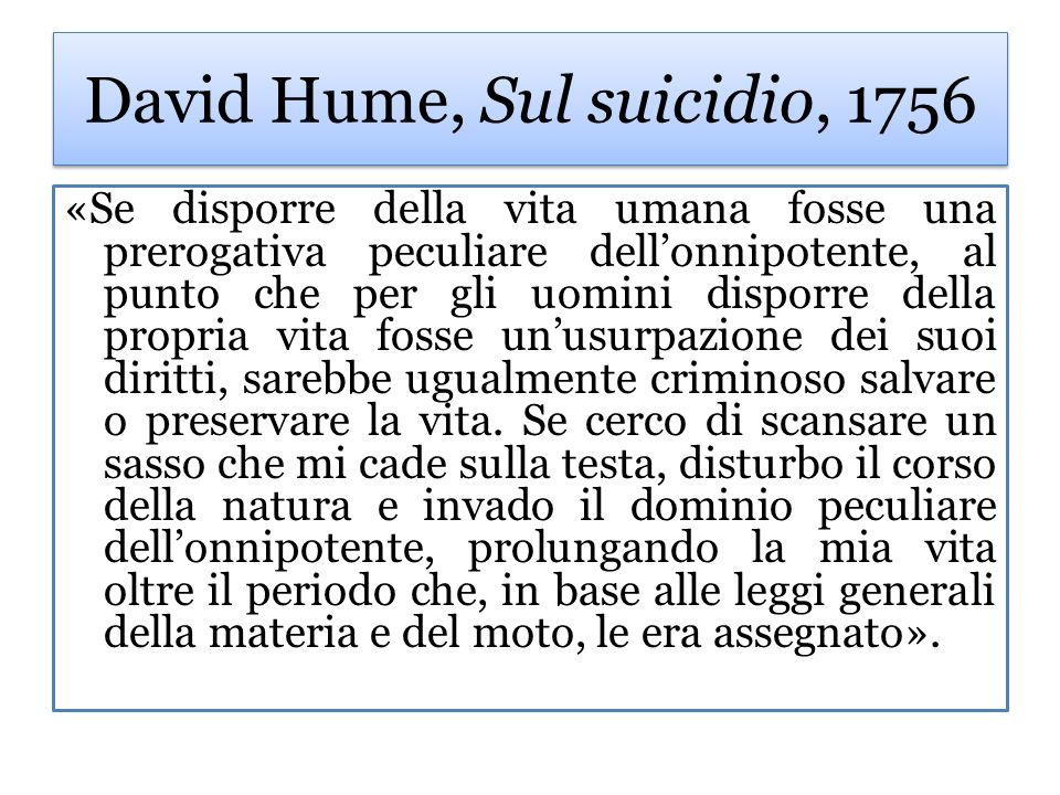 David Hume, Sul suicidio, 1756