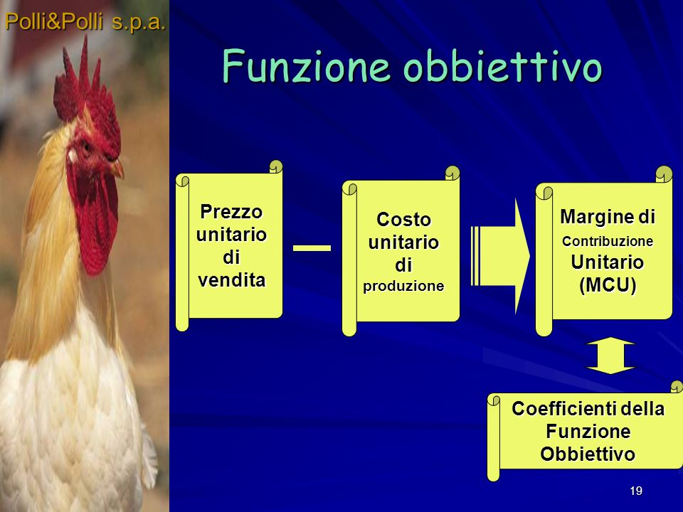 Funzione obbiettivo Polli&Polli s.p.a. Prezzo unitario di vendita