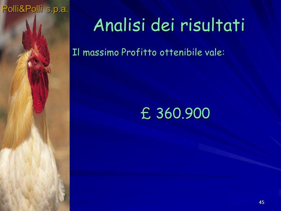 Analisi dei risultati £ 360.900 Polli&Polli s.p.a.